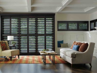 Hardwood Living Room Shutters - Today's Interiors