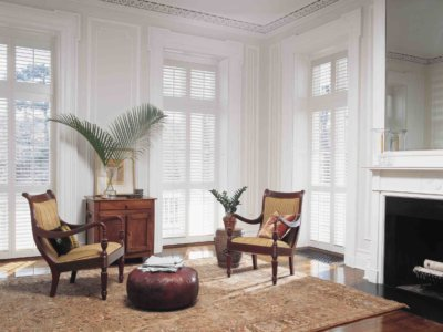 Lounging Area with Window Shutters - Today's Interiors